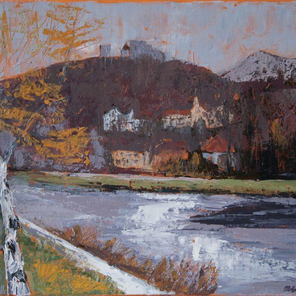 Autumn on the promenade along the river Savinja