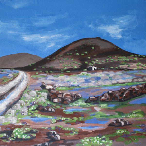Spring walk on extinct volcanoes of Lanzarote island.